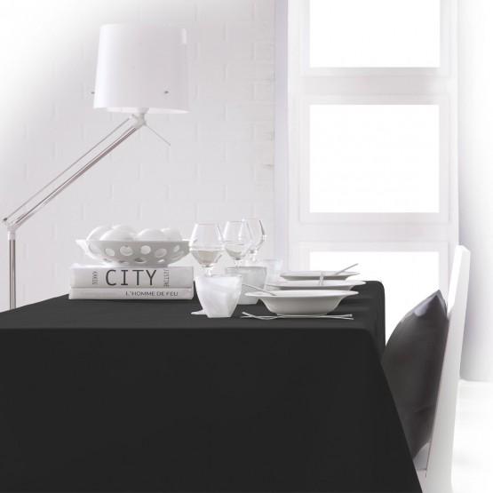 nappe unie noire 2m40 x 1m48 anti tache sans repassage. Black Bedroom Furniture Sets. Home Design Ideas