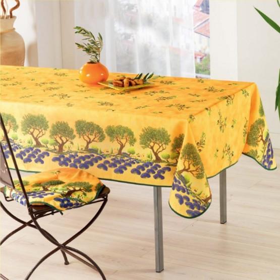 nappe olive olivier et champs de lavande jaune anti tache et sans repassage 2m 1m50. Black Bedroom Furniture Sets. Home Design Ideas