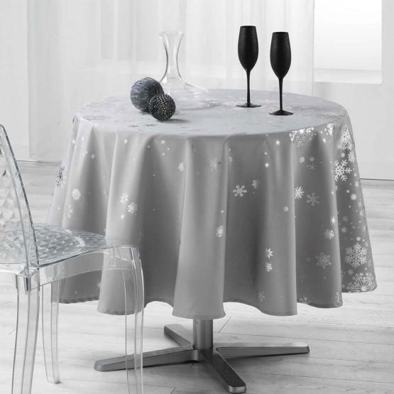 nappe ronde 1m80 constellation gris argent anti tache infroissable. Black Bedroom Furniture Sets. Home Design Ideas