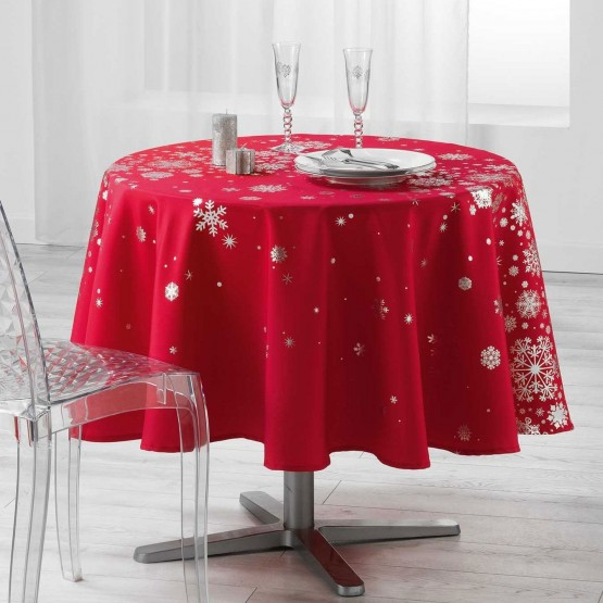 nappe ronde 1m80 constellation rouge argent anti tache infroissable. Black Bedroom Furniture Sets. Home Design Ideas