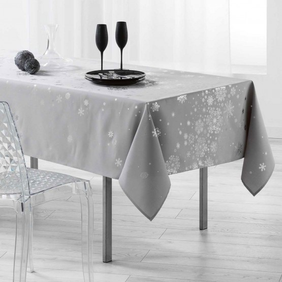 nappe constellation gris argent 2m40 x 1m50 anti tache infroissable. Black Bedroom Furniture Sets. Home Design Ideas