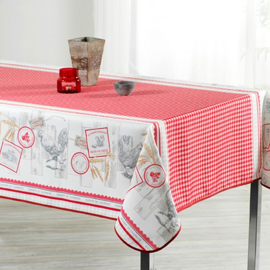 nappe poule et vichy rouge ref 950mok 2m x 1m50 anti tache infroissable. Black Bedroom Furniture Sets. Home Design Ideas