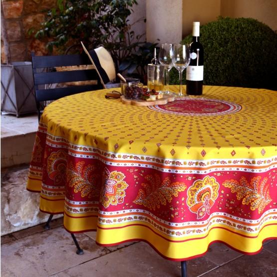 nappe ronde coton enduit mirabeau jaune r 1m80. Black Bedroom Furniture Sets. Home Design Ideas