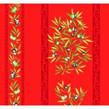 Nappe clos des oliviers rouge coton enduit plastifié 3m/1m60