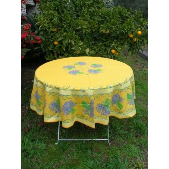 nappe ronde coton enduit lavande jaune 1m80. Black Bedroom Furniture Sets. Home Design Ideas