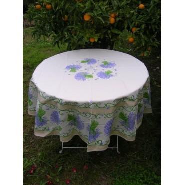 Nappe ronde coton enduit lavande blanc bleu 1m80