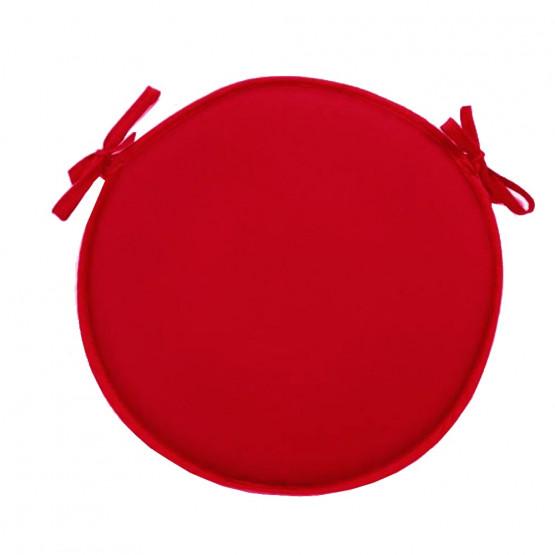 Coussin De Chaise Rond Uni Rouge Diamètre 40 Cm