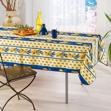 Nappe citron lavande bleu 2m / 1m50