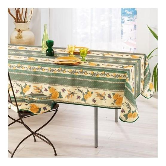 nappe abeille vert anti tache et sans repassage 2m 1m50. Black Bedroom Furniture Sets. Home Design Ideas