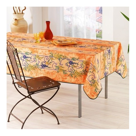nappe glycine et lavande orange anti tache et sans repassage 2m 1m50. Black Bedroom Furniture Sets. Home Design Ideas