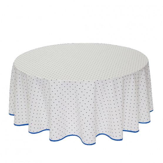 Nappe ronde coton enduit plastifié exclusif blanc bleu 1m80