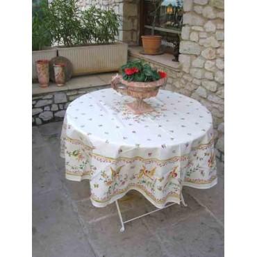 Nappe ronde coton 1m80 faïence de moustiers  rose