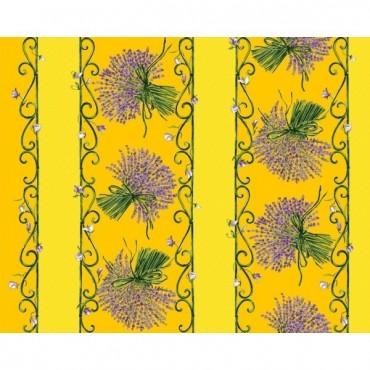 Nappe lavande jaune coton enduit 1m50/1m20