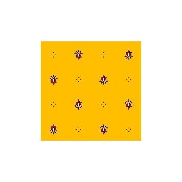 Nappe exclusif  jaune rouge coton enduit 1m50/1m20