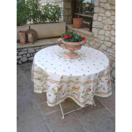 nappe ronde coton enduit fa ence de moustiers rose 1m80. Black Bedroom Furniture Sets. Home Design Ideas