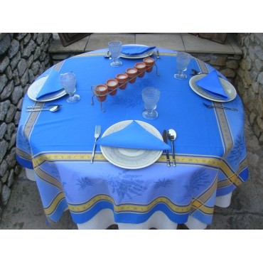 Nappe carrée jacquard lavande bleu 1m60